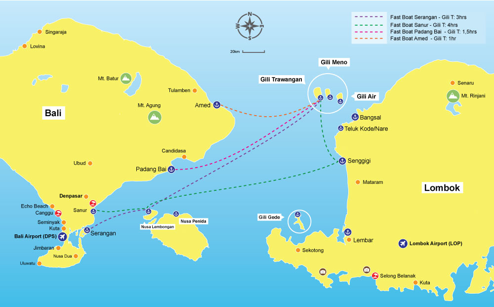 bali to gili trawangan routes map