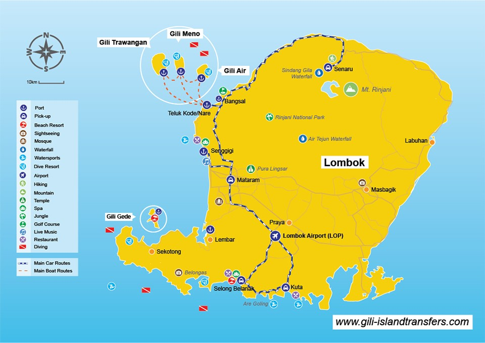 gili Islands Map Overview